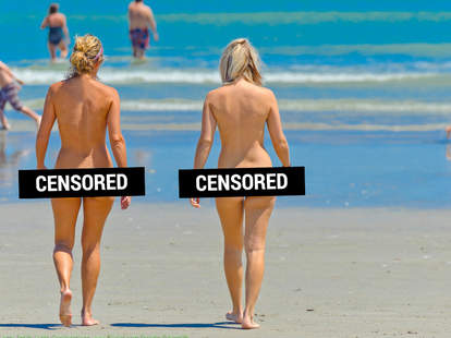 Naked people at beach